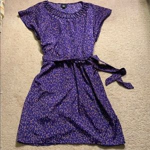 Purple and Gold Dress with Decorative Neckline